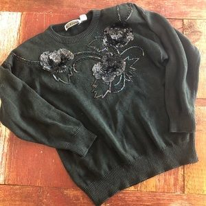 Vintage | Holographic Sequin Flower Sweater